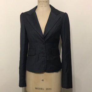 Juicy Couture gray wool pinstripe blazer jacket